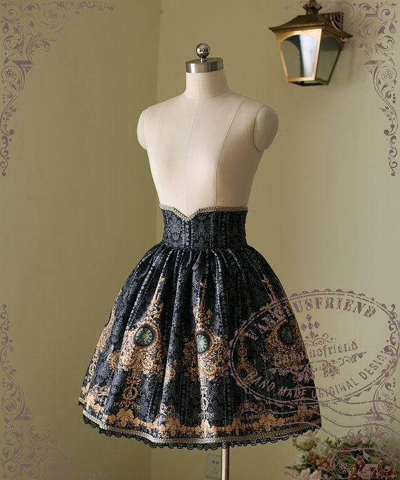 Ten O'Clock Cinderella, Rococo Lolita Elegant Gothic Steel Boned High Waist…