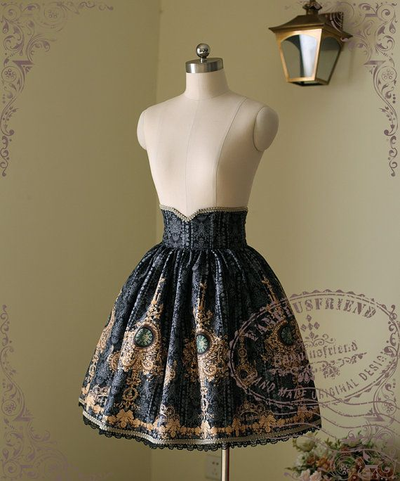 Ten O'Clock Cinderella, Rococo Lolita Elegant Gothic Steel Boned High Waist Skirt*FREE EXPRESS SHIPPING