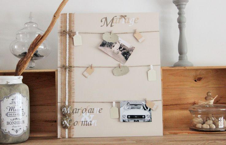 tableau toile porte photo p le m le mariage esprit champ tre chic accessoires de maison. Black Bedroom Furniture Sets. Home Design Ideas