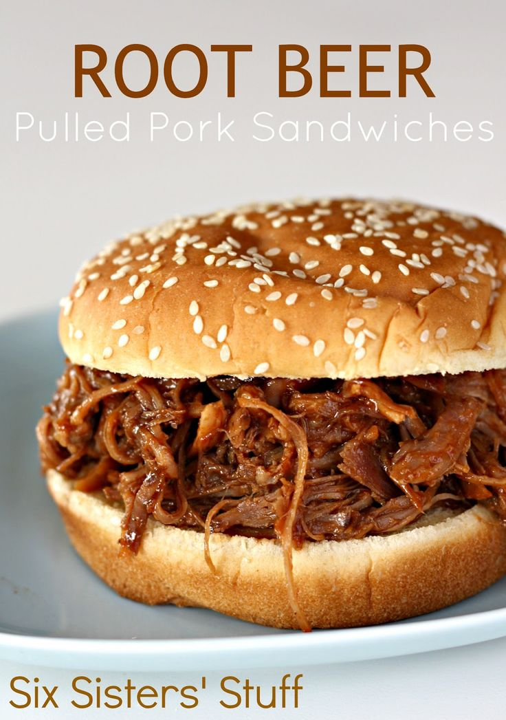Slow Cooker Root Beer Pulled Pork Sandwiches | Six Sisters' Stuff
