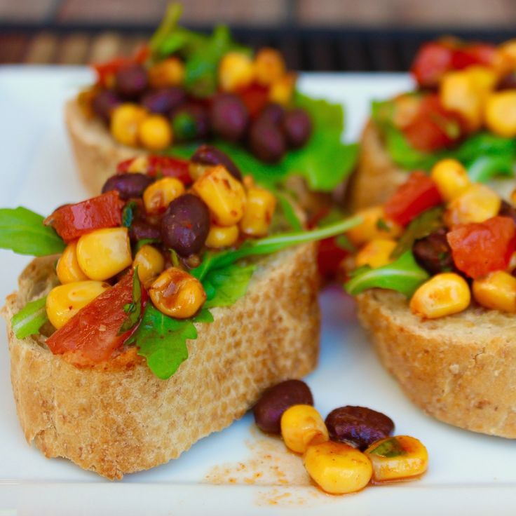 Mexican inspired! A little flavor explosion with every bite!Black Bean Chili Bruschetta