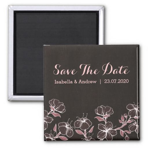 Pink Blossom Wedding Save The Date Refrigerator Magnets