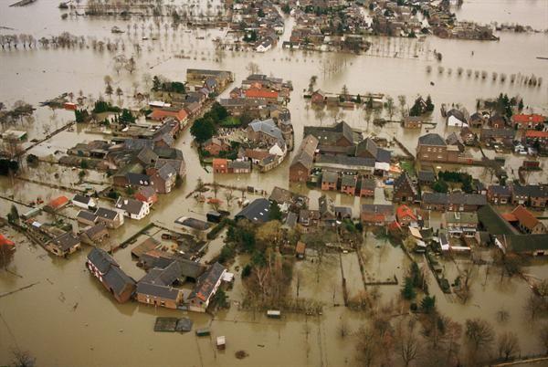 Itteren, Maastricht, Netherlands flooded in 1995.