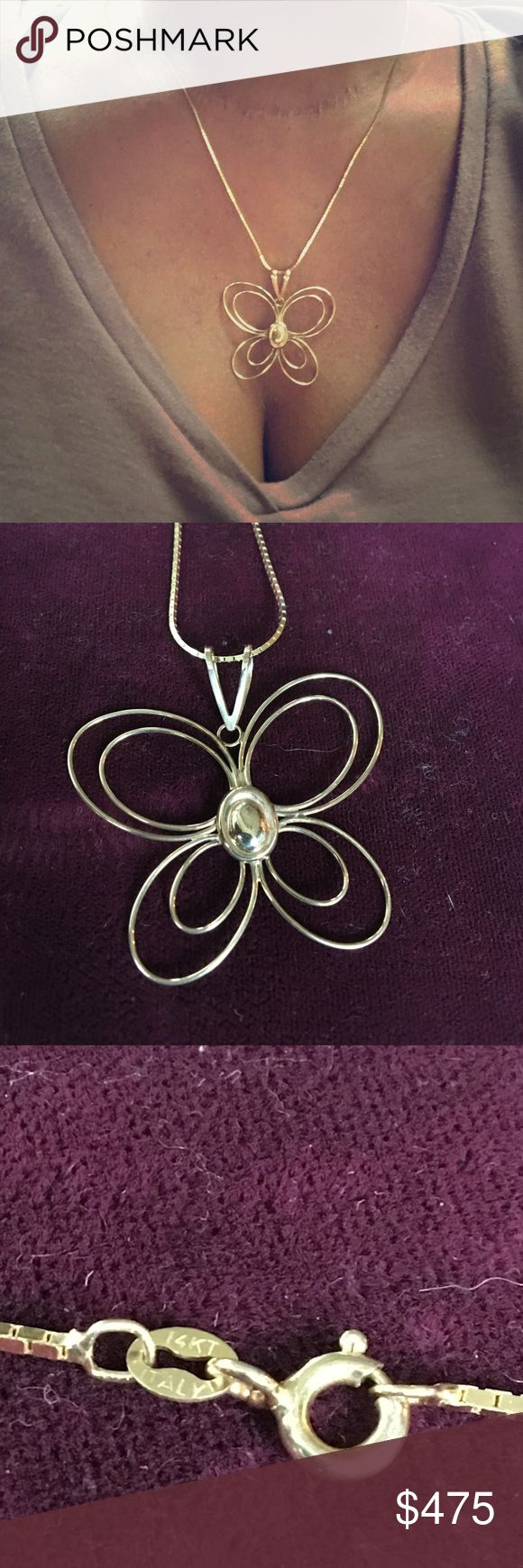 14 karat gold butterfly necklace 14 karat  20 inches necklace Jewelry Necklaces