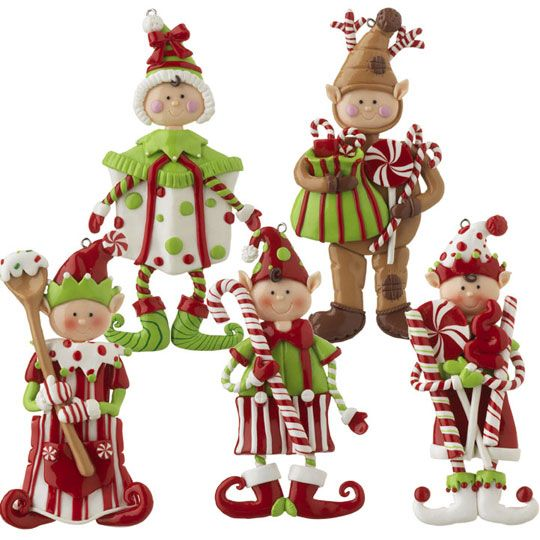 Christmas Elf Clay Dough Ornament Set. Cute Set Of 5