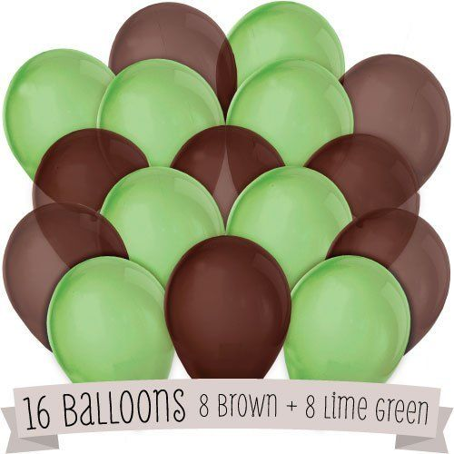 16 Pack of Latex Balloons (8 Brown & 8 Green) by Big Dot of Happiness, LLC, http://www.amazon.com/dp/B00B5X972S/ref=cm_sw_r_pi_dp_rkB2rb0DNGXCMParties Supplies, Birthday Parties, Pack Helium, Balloons Birthday, Latex Balloons, Balloons Globos, 16 Pack, Big Dots, Baby Shower
