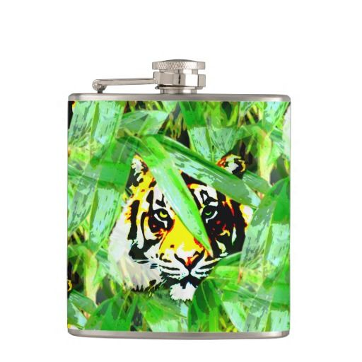 Tiger In The Bamboo Forest Flask Hip Flask - This flask features a tiger peaking through the leaves in the bamboo forest. http://www.zazzle.com.au/tiger_in_the_bamboo_forest_flask_hip_flask-256888621787808674?rf=238523064604734277