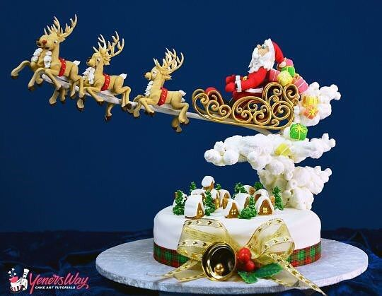 Gravity-defying Christmas themed cake