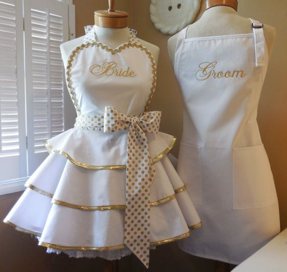 Gold Metallic BRIDE & GROOM Custom Personalized Aprons. Featuring Womans Triple Tiered Retro Apron With Heart Shaped Bib. Matching Mens Chef Apron,