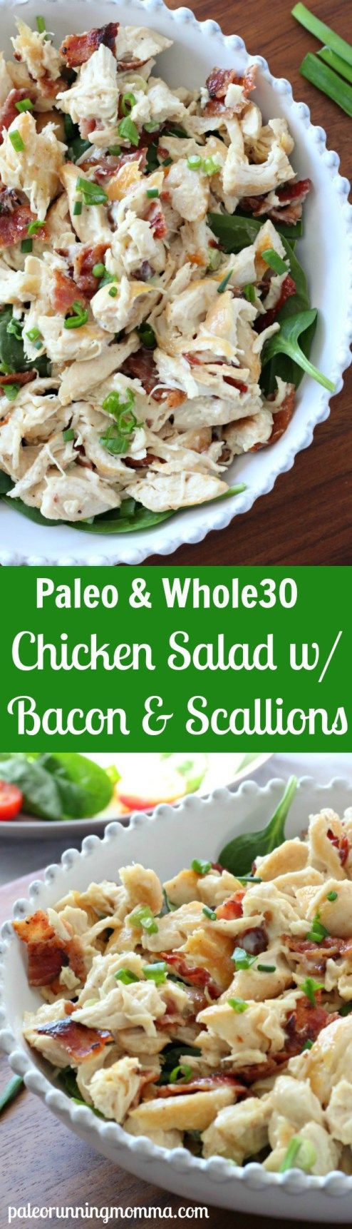 Chicken Salad with Bacon and Green Onions FAVORITE LUNCH #whole30 add celery, cucumber, pepper, even avocado and serve on bed of spinach