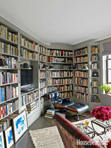 Bookcases mask awkward angles. Design: Alexander Doherty. housebeautiful.com. #bookcases #library