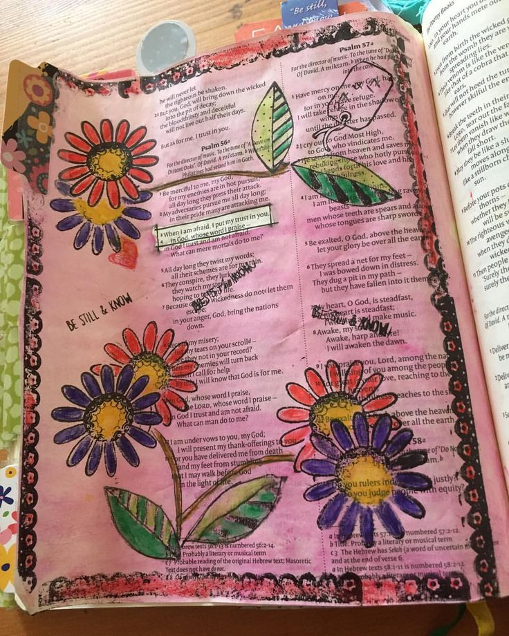 """6 Likes, 1 Comments - Viv Is Here Bible Journaling (@viv_is_here_bible_journling_) on Instagram: """"Psalm 56 : 3/4  When I am afraid I put my trust in you ... Amen..."""""""