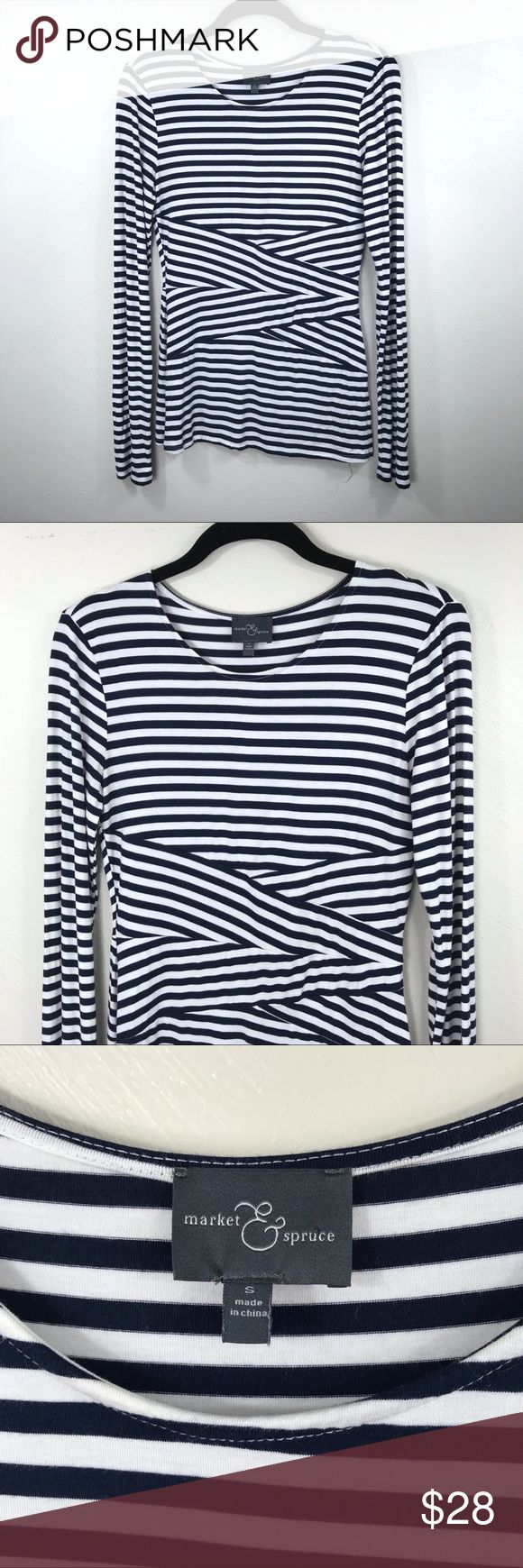 "Market & Spruce Striped Top Brand: Stitch Fix Market & Spruce Description: Striped long sleeve tee Color: Blue and white Size: Small Chest Measurement: 15"" across laying flat Length: 24"" from shoulder to hem Material: 94% rayon / 6% spandex Condition: Excellent, pre-owned condition Market & Spruce Tops Blouses"