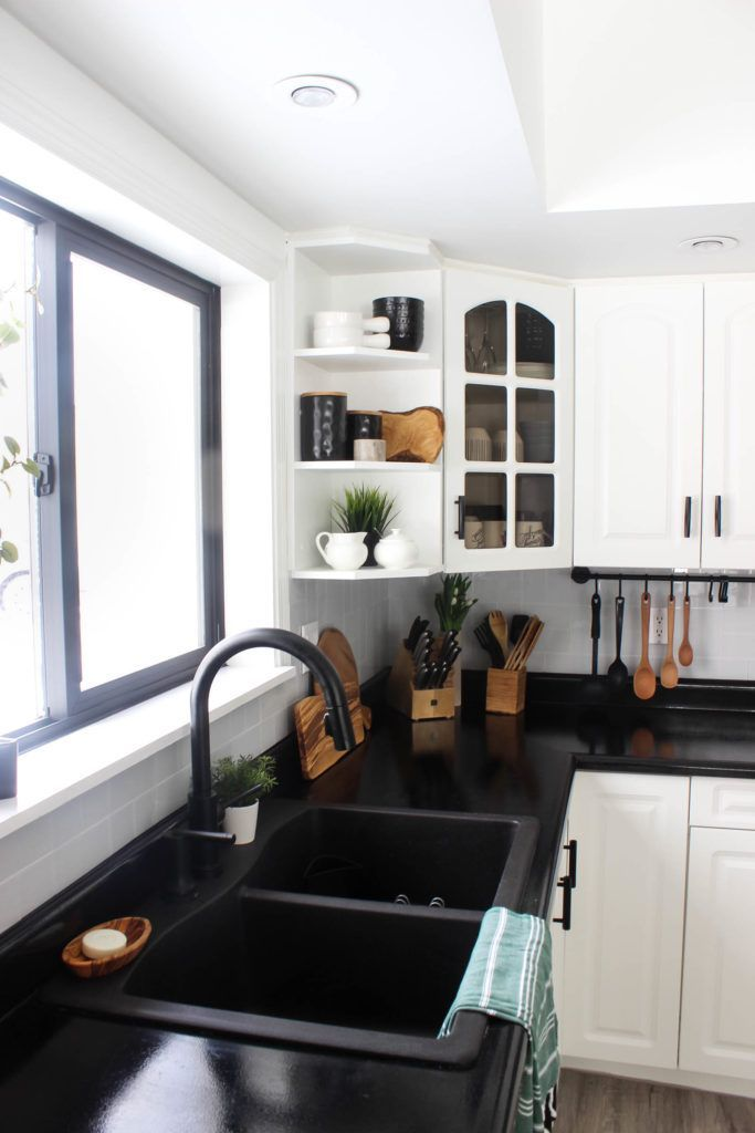 Our Weekend Renovation A New Modern Kitchen White Modern Kitchen Black Countertops Kitchen Trends