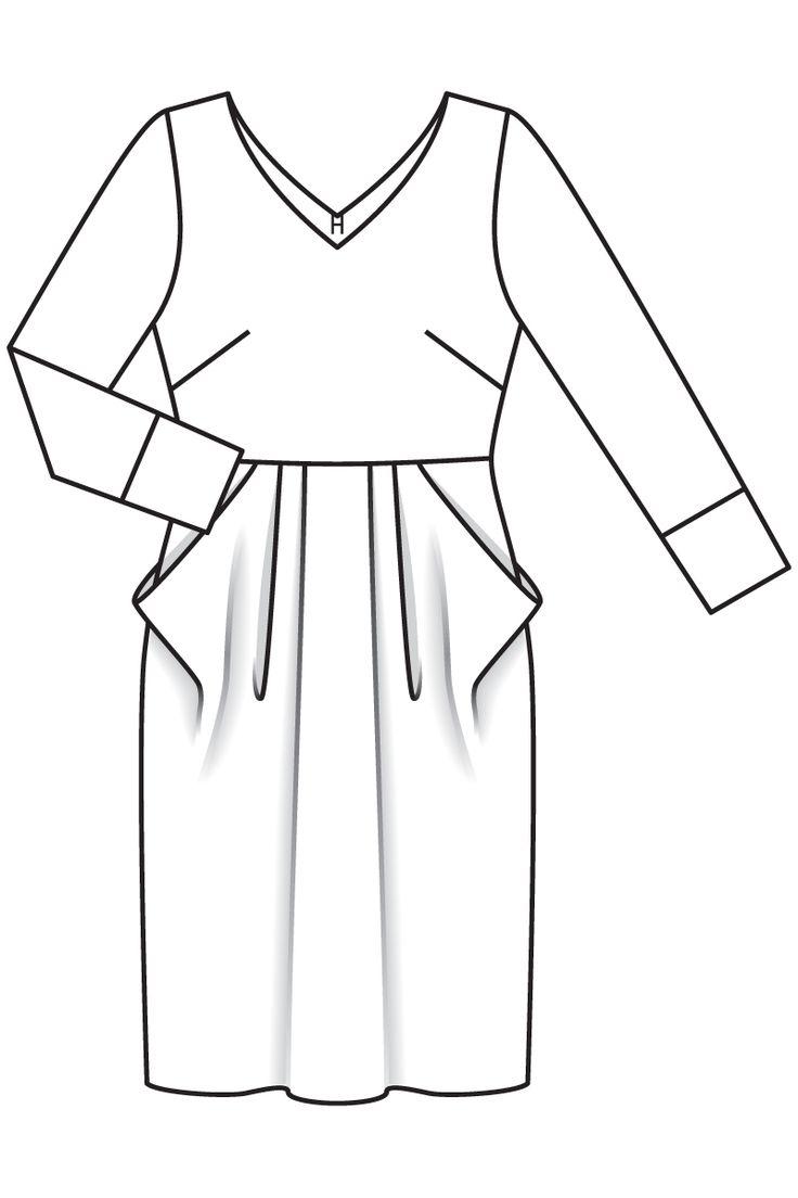 Платье с цельнокроеными карманами - выкройка № 104 А из журнала 10/2016 Burda – выкройки платьев на Burdastyle.ru