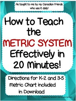 Our Canadian friends learn the entire Metric System at an early age! I was lucky enough to learn it quickly and easily through the help of some Canadian friends. I have shared this effective teaching strategy along with a metric chart for length. Included in the download are suggestions for use for grades K-2 and 3-5.