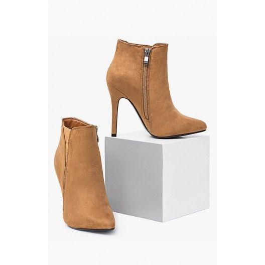 Dámske kotníkové topánky na vysokom podpätku hnedej farby - fashionday.eu