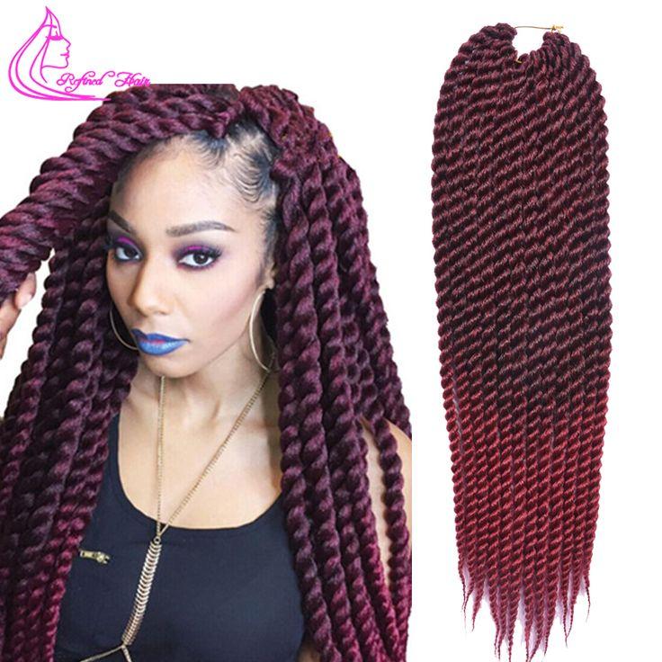"16 Colors Havana Mambo Twist Crochet Braids Synthetic Crochet Braiding Hair Extensions 85g/pack 22"" Afro Twist Crochet Hair"
