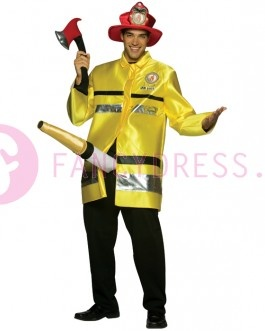 fireman Costume  The package consists of a yellow jacket, red hat, red ax and hose. The hose is attached to the wearer's waist and attached to the ax with a visdraadje. As soon as your ax up doing the snake will follow. 100% polyester, one size fits most.  http://www.feestkleding-fancydress.nl/volwassenen/grappige-kostuums/brandweerman-kostuum.html