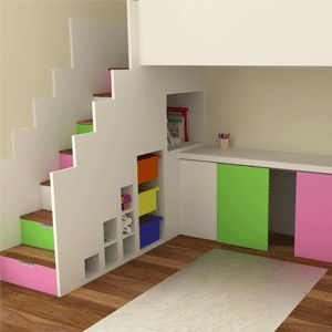 Candy Stripe Storage High Sleeper Bed
