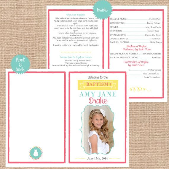 Custom Printable folding LDS Baptism Program by DigiDoodlesStudio, $15.00