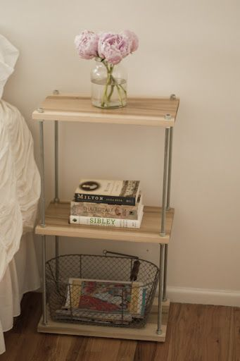 These are the type of side tables I want in my living room...just enough to hold a lamp and a book or two  DIY side table