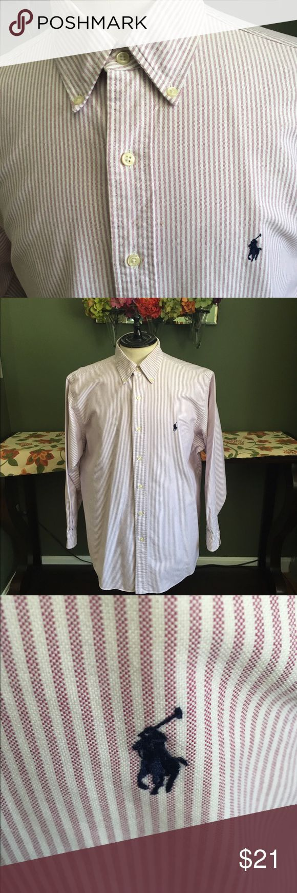 RALPH LAUREN MEN'S CLASSIC FIT SHIRT Nice Ralph Lauren men's classic fit size 161/2 32/33 sleeves button down shirt! ECU deep pink and white stripe. Great with jeans or shorts 😊 Ralph Lauren Shirts Casual Button Down Shirts