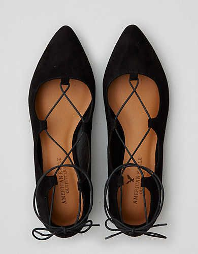 Take your classic ballet flats up a notch with this lace-up suedette option. — Gabrielle Current #ad