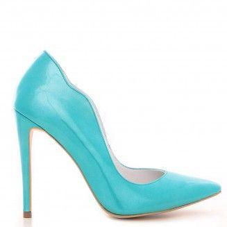 pantofi dama din piele naturala 1501 lac turcoaz