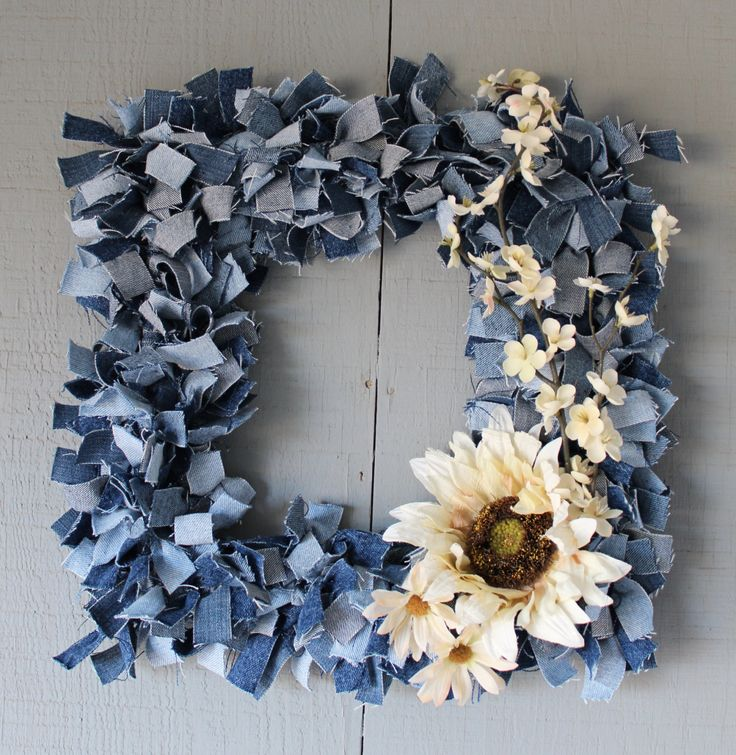 Denim Square Wreath Accented with Fall Floral Silk Sunflowers - Unique Fall Wreath with Flowers Detachable To Change With The Seasons by AllintheJeans on Etsy