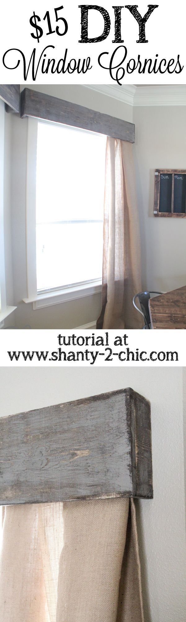 DIY Wooden Window Cornice. This is a good inexpensive alternative to a pre-fab cornice board and it's simple -- great for a cottage, beach house, or farm house look.