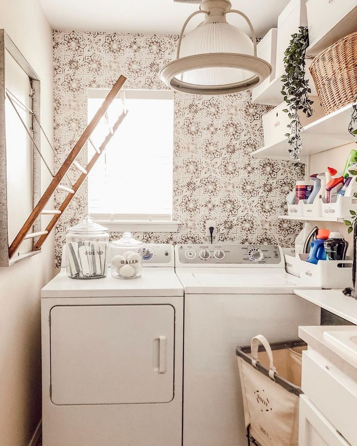 Farmhouse Laundry Room With Vintage Patina Wallpaper Valspar Cream In My Coffee Paint I Laundry Room Makeover Farmhouse Laundry Room Laundry Room Inspiration