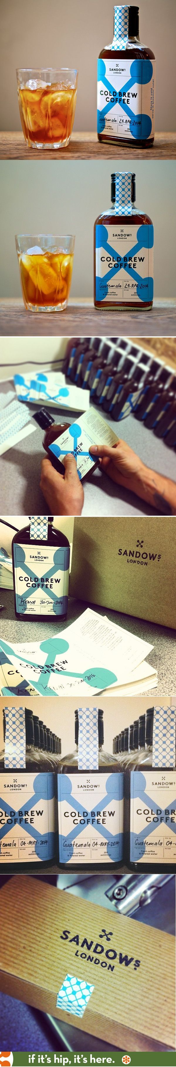 Love the old whiskey bottle look of this iced coffee packaging by Sandows of London! #packagingdesign
