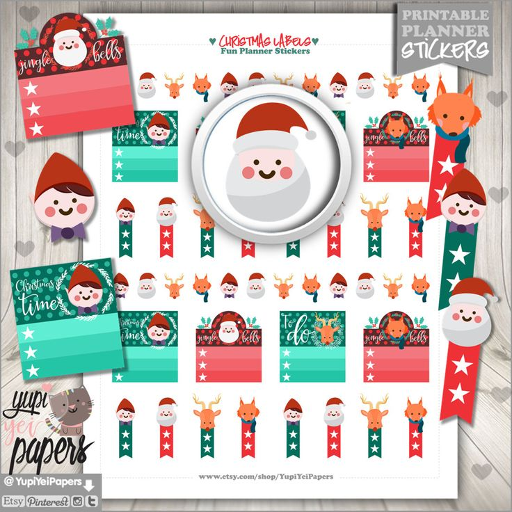 50%OFF - Christmas Stickers, Planner Stickers, Christmas Planner Stickers, Christmas Flags, Christmas Stamp, Printable Planner Stickers