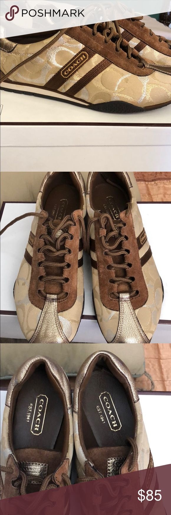 Coach tennis shoes!! Authentic Coach tennis shoes - barely worn. Looks brand new. No color fading. Coach Shoes Sneakers