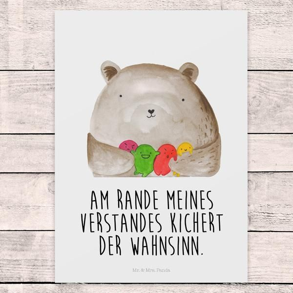 Postkarte Bär Gefühl aus Karton 300 Gramm – Mr. & Mrs. Panda