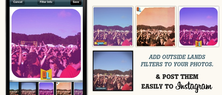 Outside Lands SF – Built in camera, including filters, and added branding to post to Instagram et al.