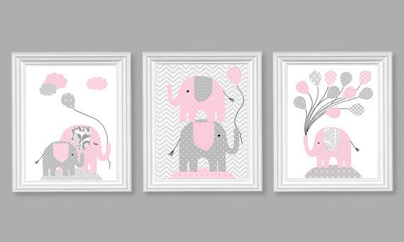Elephant Nursery Art, Grey and Pale Pink, Girl's Room Decor, Balloons, Chevron, Children, Toddler, Canvas Nursery Decor, Jungle Room Decor