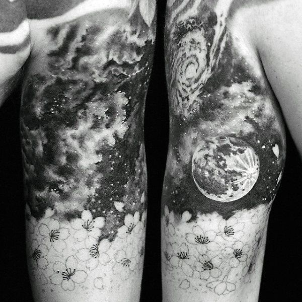 Image Result For Space Tattoo Black And Gray Star Tattoos For Men Star Tattoos Tattoos For Guys