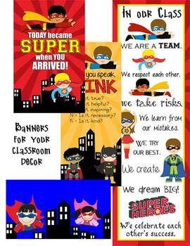 SUPER Hero - Classroom Decor - binder covers, banners, pos