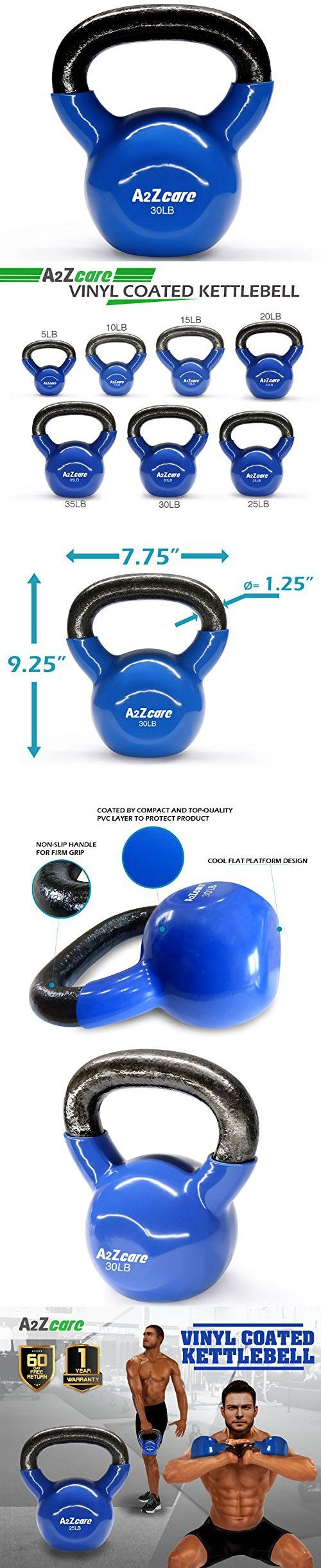 A2ZCare Vinyl Coated Kettlebell For Cross Training, Swings, Body Workout And Muscle Exercise - 30lbs