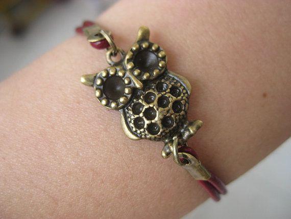 Red Leather Antique Owl Bracelet B04514 by mooli on Etsy, $1.99