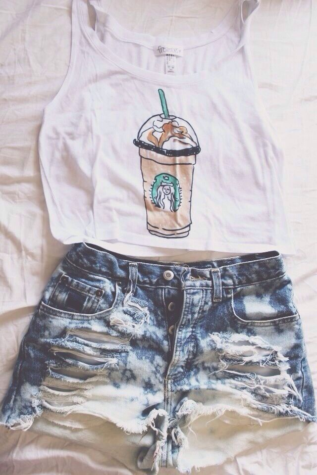 High waisted shorts and crop top | Clothing | Pinterest
