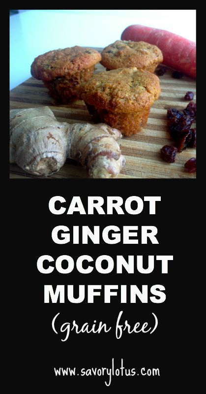 Carrot Ginger Coconut Muffins (Gluten/Grain-free, Paleo) - delicious! I will add more grated ginger and trade the raisins for chocolate chips next time. The batter is soupy, but resist the urge to add more flour - it doesn't need it. Mine cooked fast too - check it at 20 minutes.