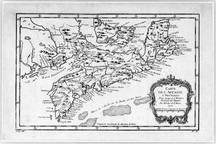 Carte de l'Acadie et pais voisins pour servir a L'Histoire Generale Des Voyages. Par M.B. Ingr. de la Marine. 1757.  Bibliothèque et Archives Canada, MIKAN 4133582.