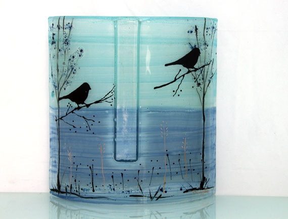 Teal blue tones  Fused glass  vase, bird  landscape