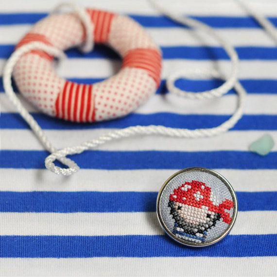 Pirate Jewellery. Pirate Brooch. Pirate Pin. Pirate Costume Jewelry. Embroidered Brooch for Kids. Gift for Teen Boys. Pirate Party Favors.