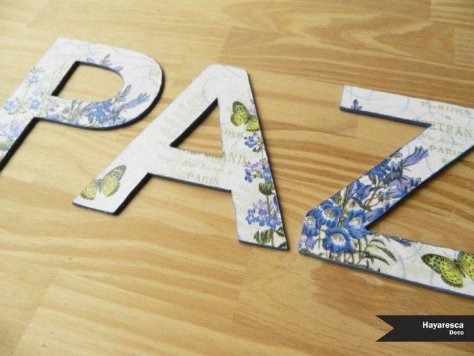 Letras de madera fibrofacil con decoupage  Palabras a eleccion  Ideal para decorar un escritorio, una repisa, para pegar.    Medidas disponibles:  - 10cm d...