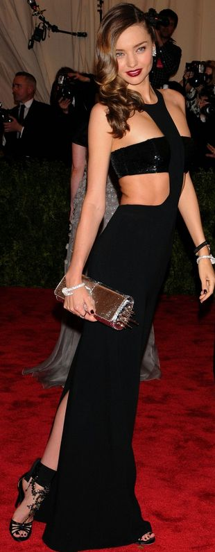 Who made Miranda Kerr's crystal sandals, cut out gown, and clutch spike handbag that she wore to the 2013 Met Gala in New York?