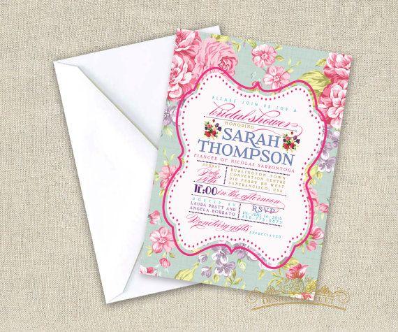 Vintage Floral Bridal Shower Invitation - Shabby Chic Bridal Shower Invite - Wedding Shower Invitation Cards with Free Envelopes